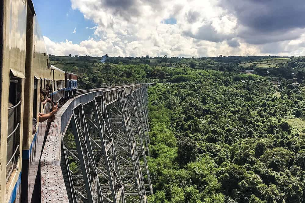 Railway crossing at Gokteik Viaduct, Myanmar Burma