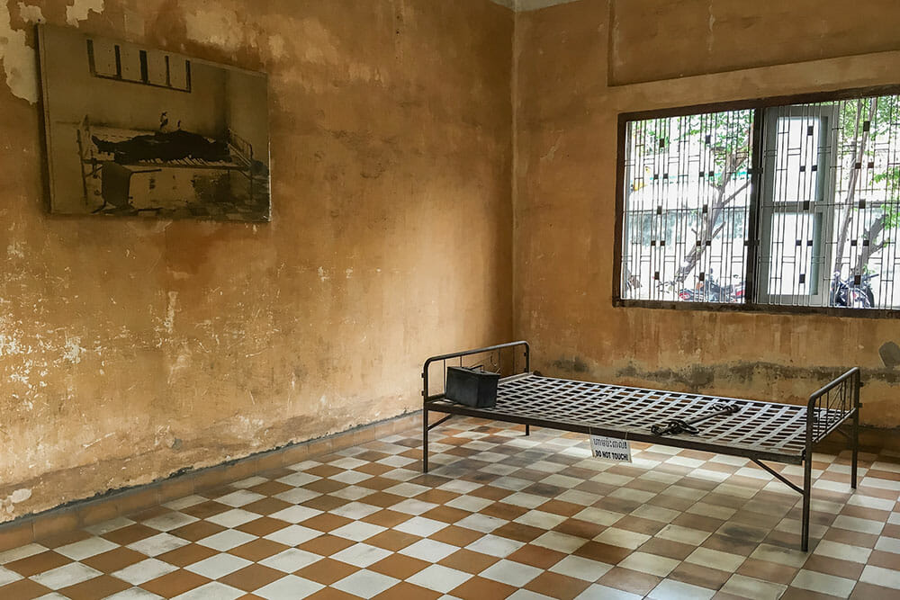 S21 Prison Cell Torture Bed Cambodia
