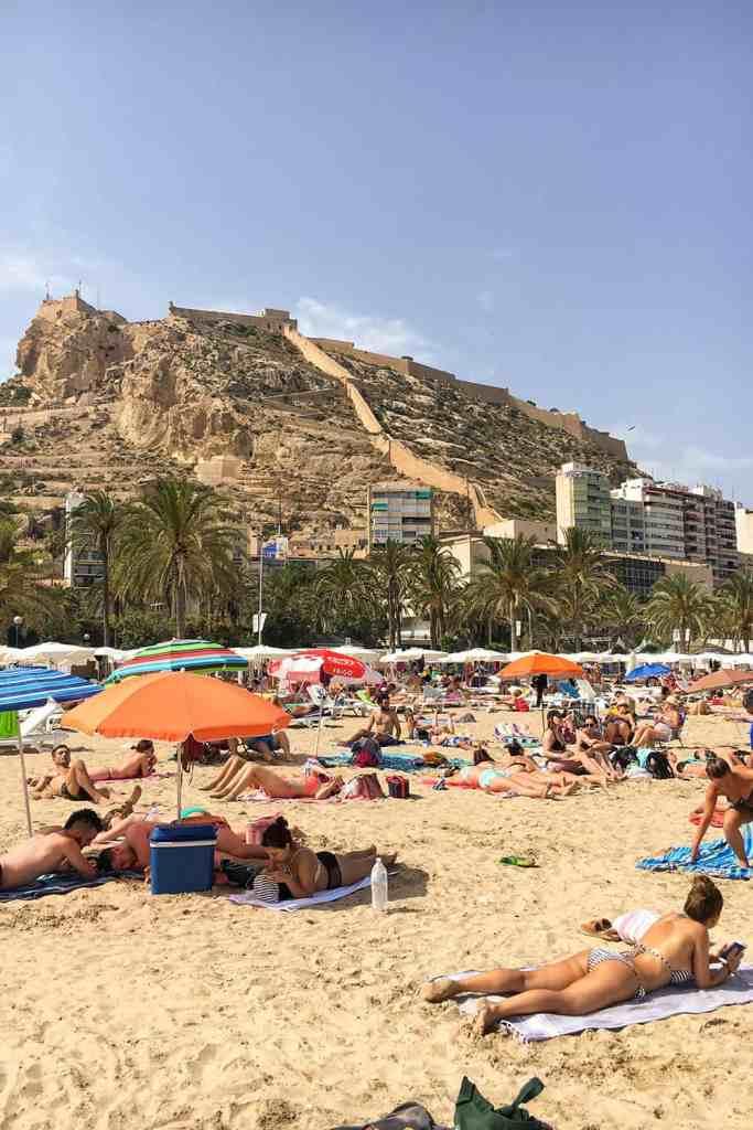 Alicante Spain Beach Castle Old Town