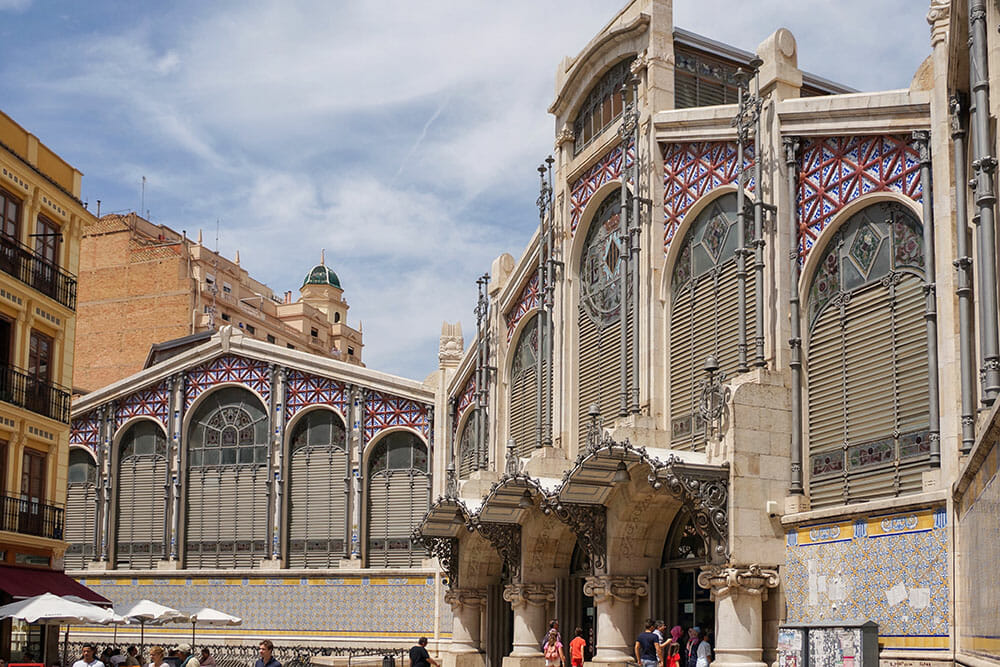Facade of Modernist Central Market in Valencia