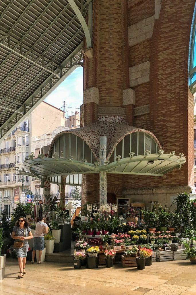 Modernist flower stall in Mercado Colon in Valencia