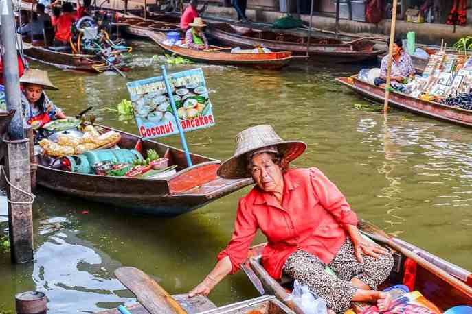 Floating market near Bangkok Thailand