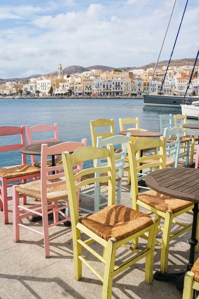 Pastel coloured chairs in Ermoupoli, Syros