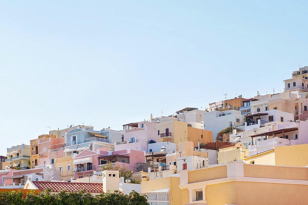 Pastel houses in Ermoupoli, Syros