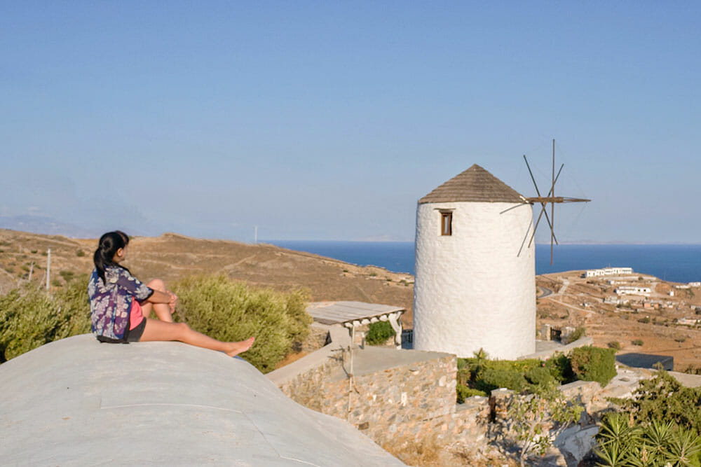 View of Ano Syros Windmill, Syros