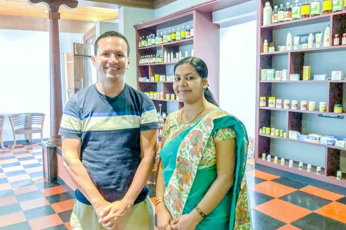 Bo Saldana with Ayurvedic Doctor at Vythiri Village, Kerala
