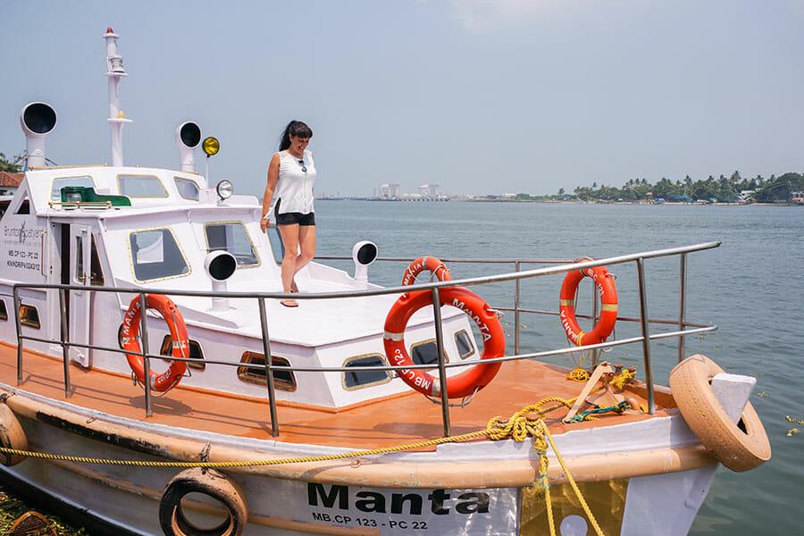 Boat at Brunton Boatyard Hotel's jetty in Kochi - #Kochi #Kerala #India
