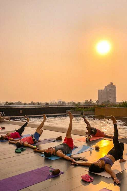 Sunrise yoga by the pool at the Kochi Marriott Hotel