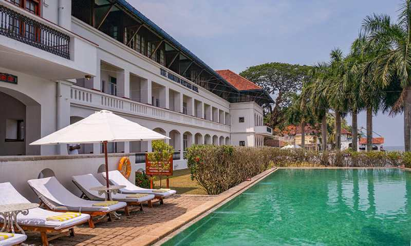 Swimming pool at the Brunton Boatyard Heritage Hotel in Fort Kochi
