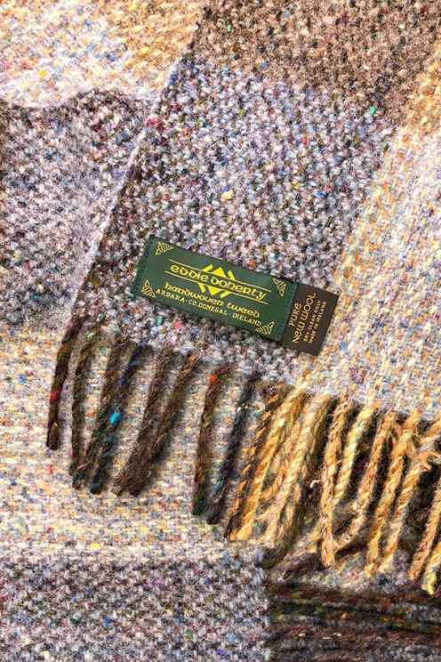 Detail of tweed scarf showing Eddie Doherty's label