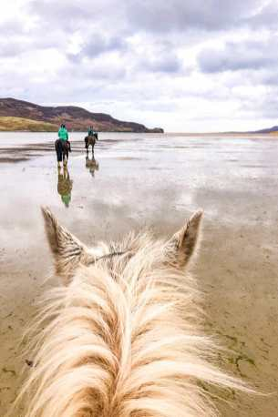 View from the top of a white horse while riding on Dungfanaghy Beach in Donegal