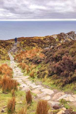 Stone path along the cliffs at Slieve League in Donegal