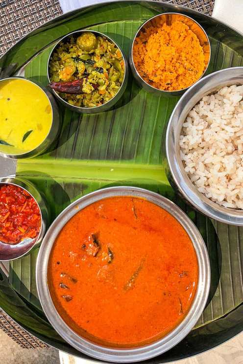 Thali with curry, rice and pickles at the Armoury Cafe