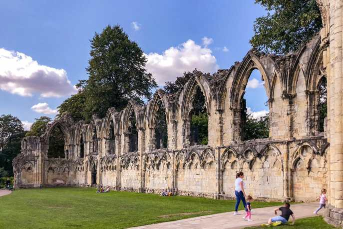 Remains of St Mary's Abbey wall with arched windows