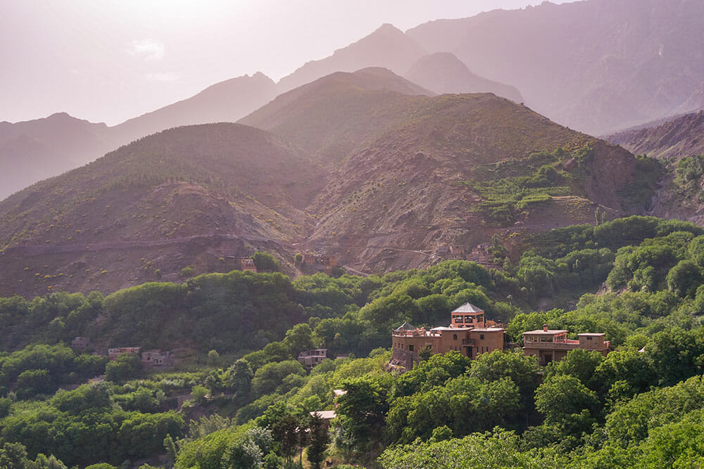 View of the Kasbah surrounded by trees and the mountains in the background