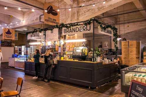 Coffee stall inside indoor market