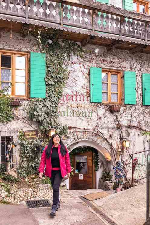 Walking out of the door of Agritur Solasna traditional farmhouse