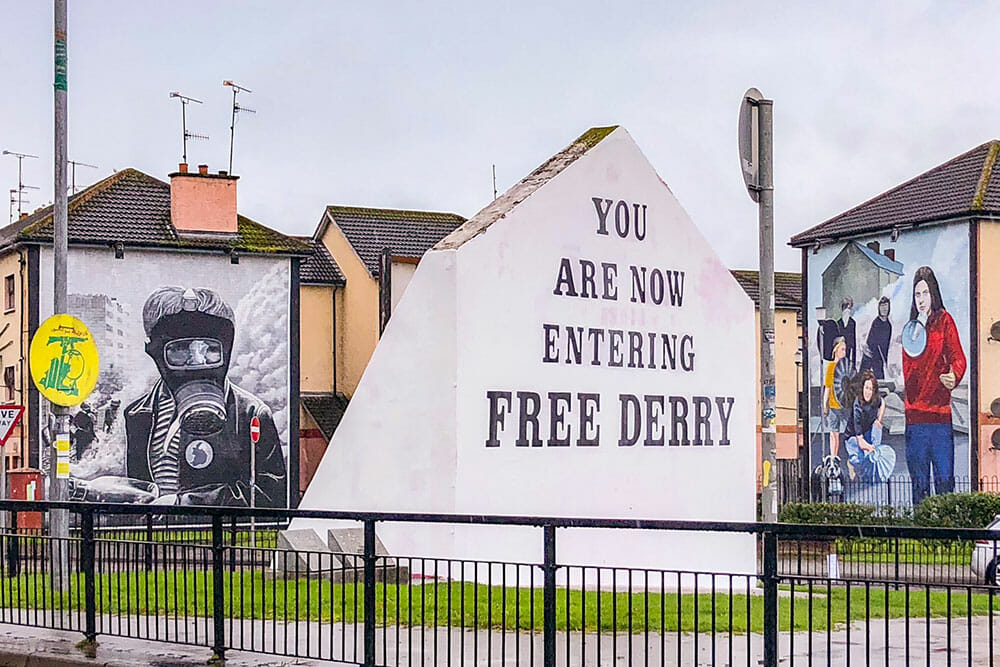Free Derry Corner and murals from the People's Gallery by The Bogside Artists