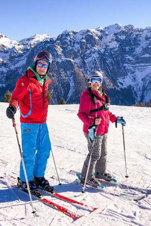 On the slopes in Val di Sole with instructor Tiziano