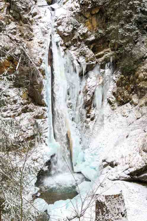 Partly frozen waterfall