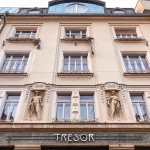 Three storey Art Nouveau facade of Hostel Tresor
