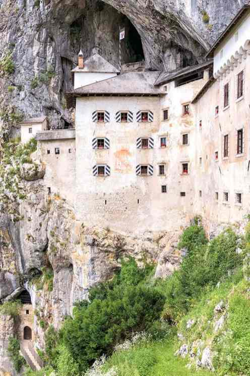 Medieval castle built on cliff face