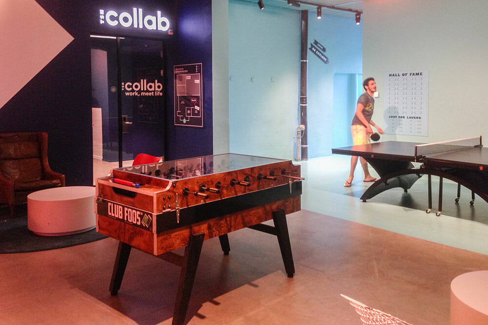 Games room with a fusball table and a ping pong table