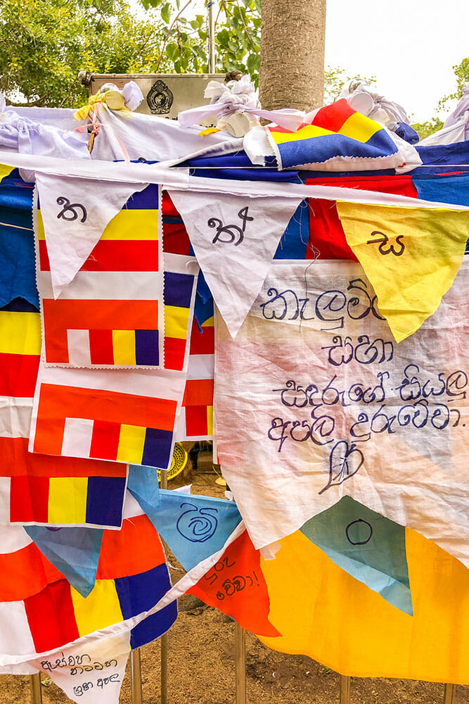 Colour buddhist flags with prayers written on them