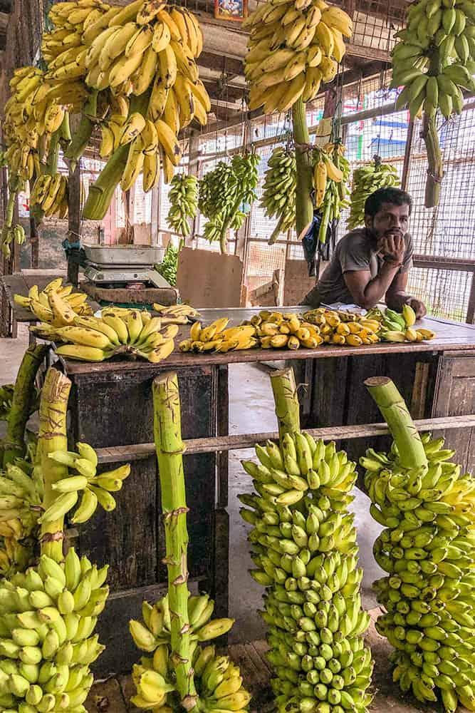 Man at a banana stall in a market