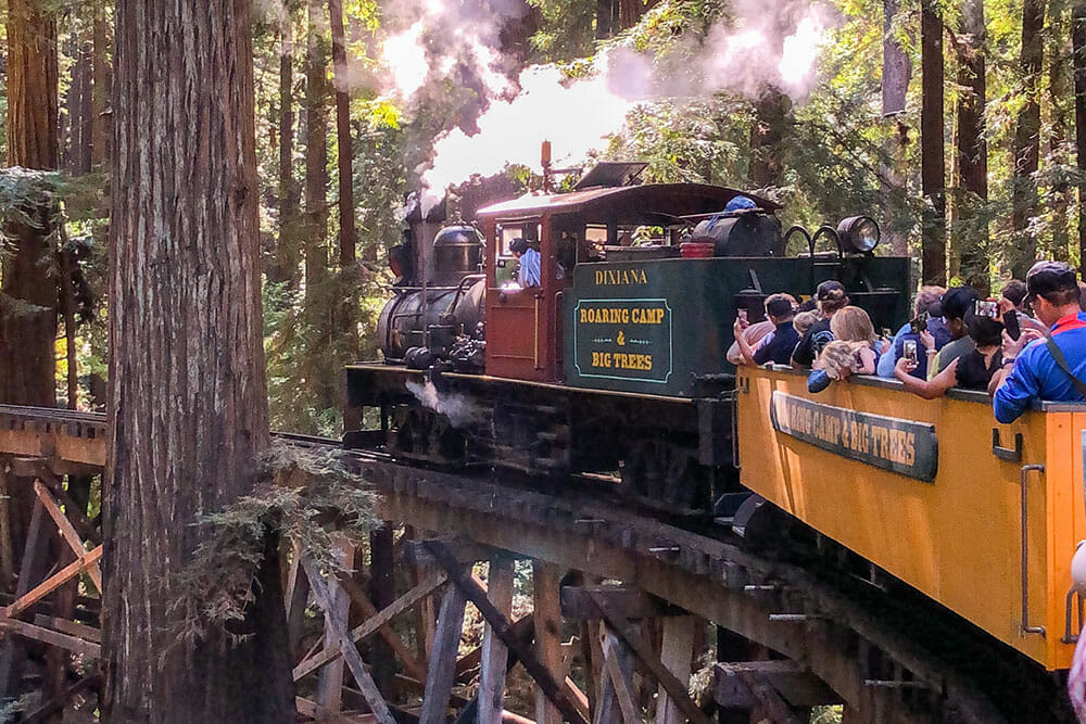 Steam railway going over a wooden trestle bridge through the woods