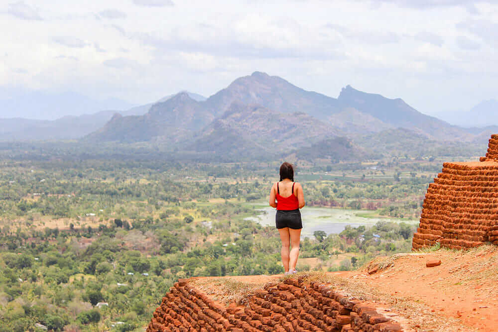 Standing on a red brick structure overlooking the plains and mountains in the distance
