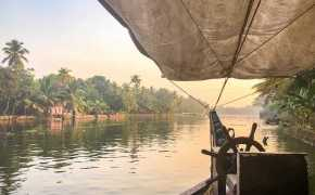 Sunrise view from the front of a boat over the Kerala backwaters, with palm trees on both side of the water
