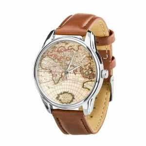 Men's watch with a vintage wold map on its face and brown leather straps