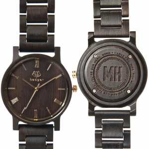 Dark wood men's watch with golden handles and roman numbers and engraved with initials and personal message on the back
