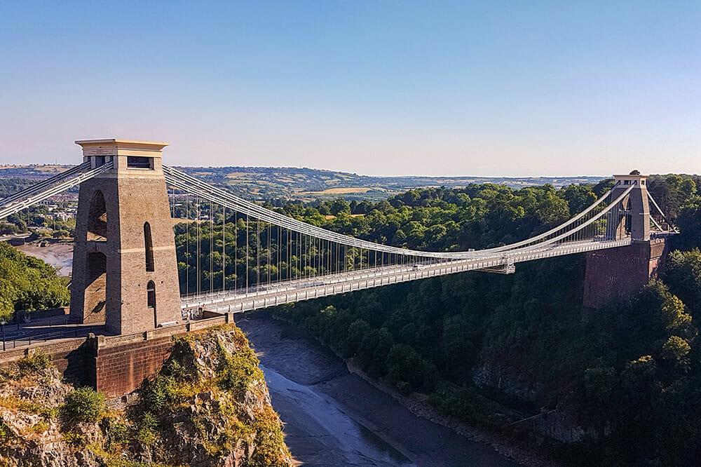 Clifton suspension bridge over a deep river