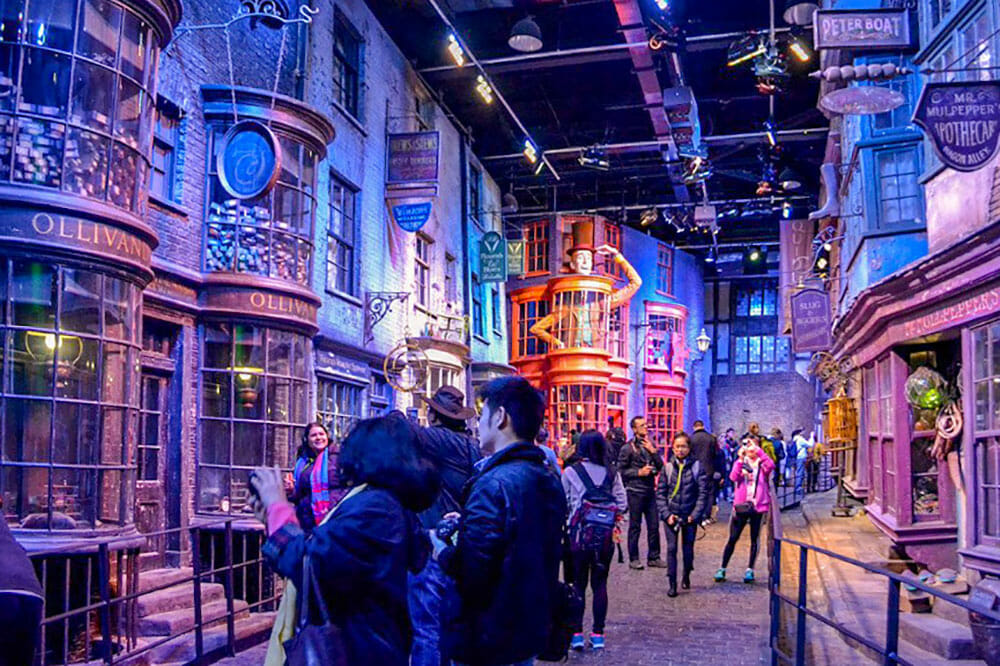 Set of Diagon Alley in Harry Potter Studios, one of the most fun day trips from London by train