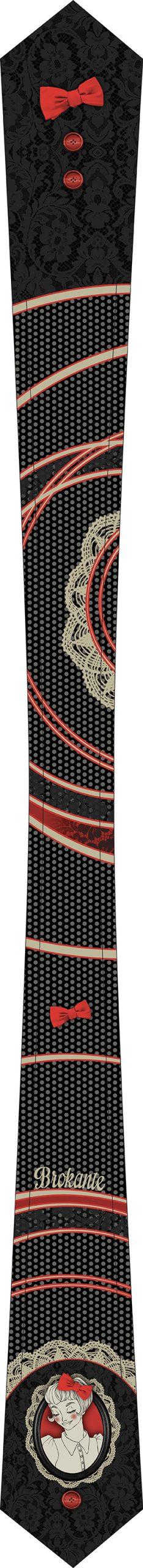 cravate femme noire, blanc cassé et rouge