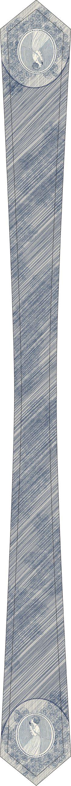 cravate femme blanche et bleue