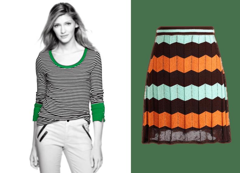 Striped Shirt - Patterned Skirt