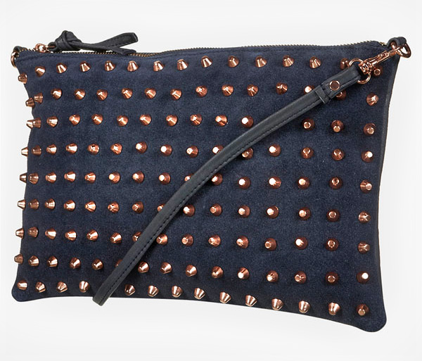 Studded Navy Clutch