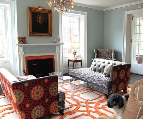 Living Room with Orange patterned carpet