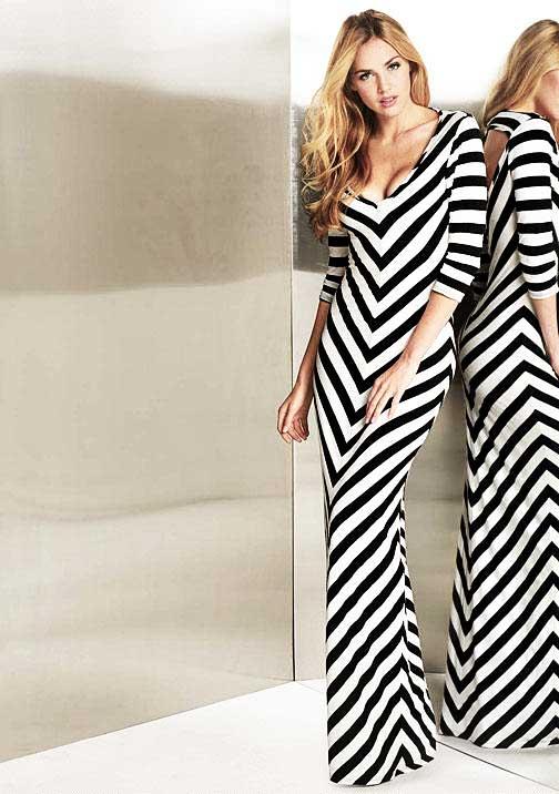Graphic Black & White Maxi Dress