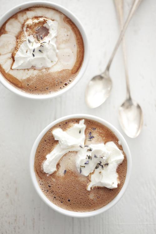 Lavender Hot Cocoa with Ice Cream