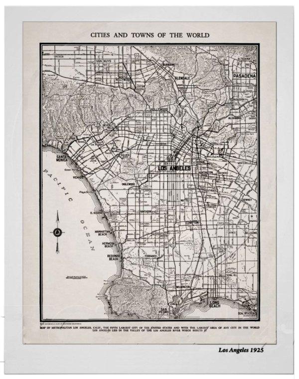 Vintage Map Print - Los Angeles