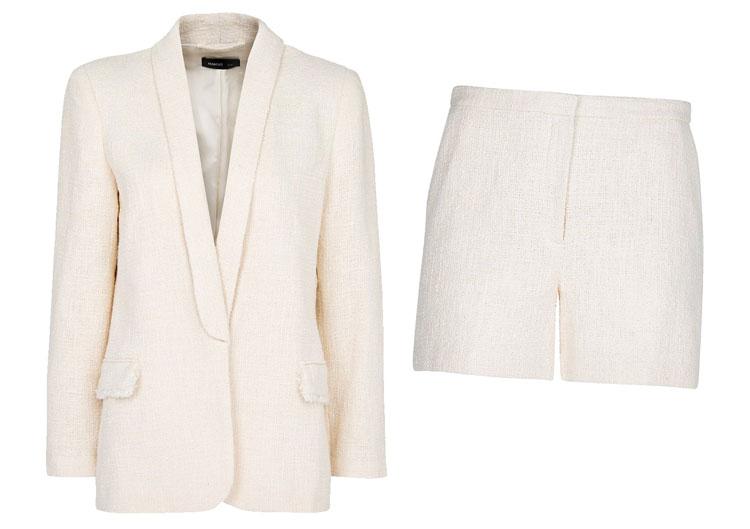 Mango Boucle Tuxedo Short Suit