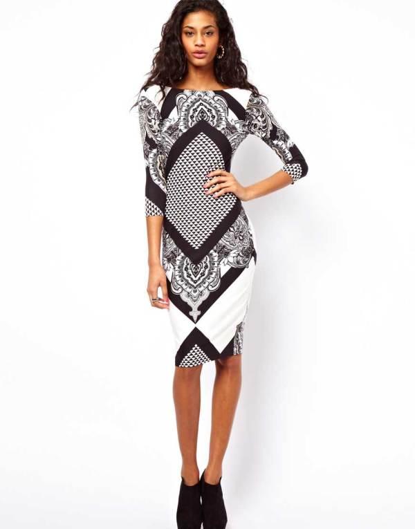 Geometric Scarf Print Midi-Dress