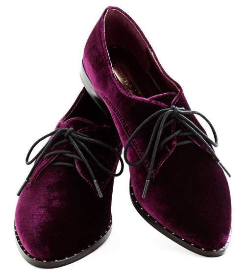 Purple Velvet Oxfords