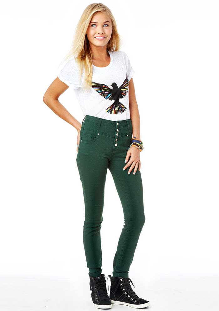 Daily Deal: Green High-Waist Skinny Jeans • Broke and Beautiful