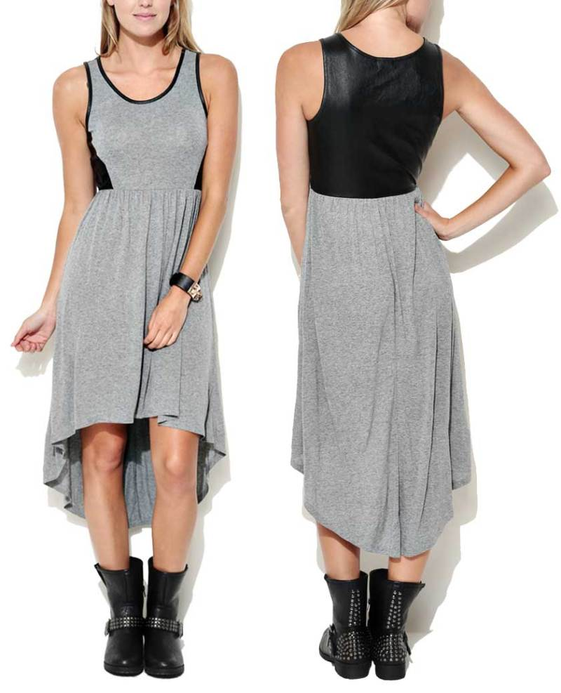 Wet Seal Vegan Leather Back Hi-Low Dress