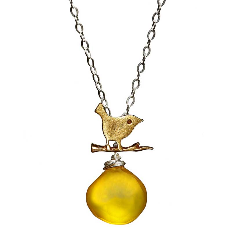 Gemleys Butterscotch Petal Golden BIrd Necklace